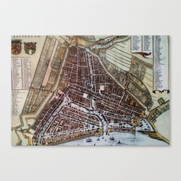Replica city map of Rotterdam 1652 Canvas Print