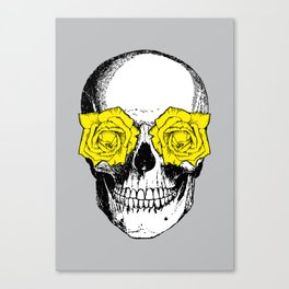Skull and Roses | Grey and Yellow Canvas Print