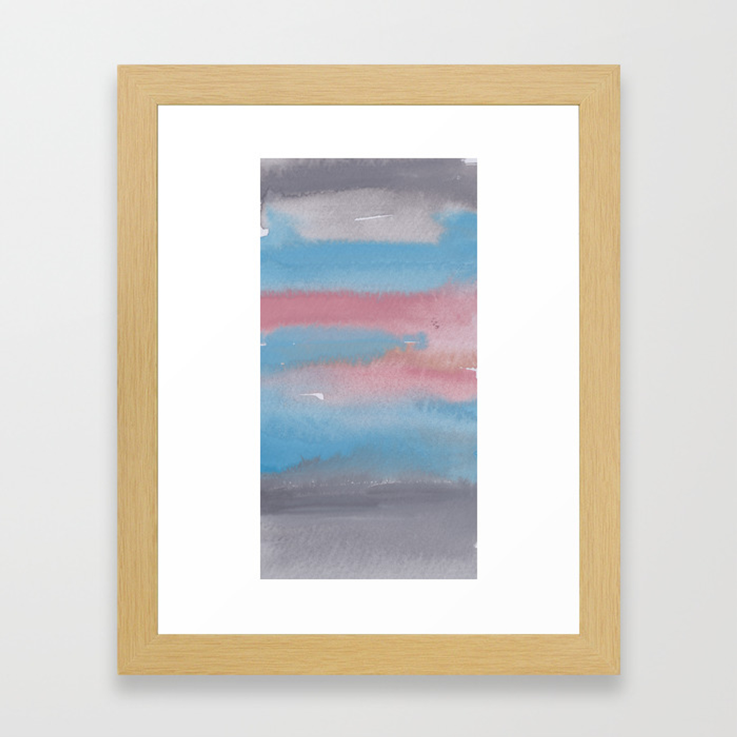 12 1903011 Watercolour Abstract Painting Muted Colours Framed Art Print