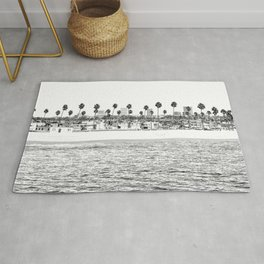 Vintage Newport Beach Print {4 of 4} | Photography Ocean Palm Trees B&W Tropical Summer Sky Rug