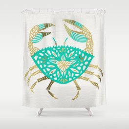 Crab – Turquoise & Gold Shower Curtain