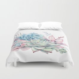 Pretty Pastel Succulents Duvet Cover