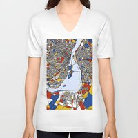 montreal V-neck T-shirts featuring montreal mondrian map by Mondrian Maps
