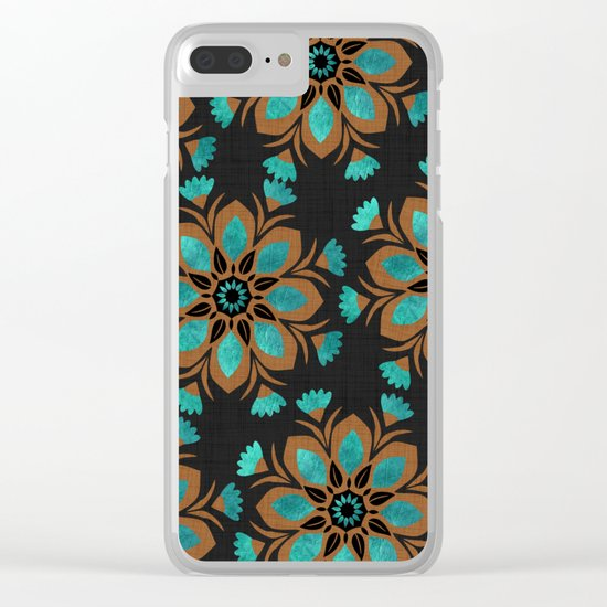Teal & Brown Decorative Flowers Design Clear iPhone Case