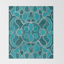 Modern Artsy Ocean Blue Rose Gold Geometric Throw Blanket