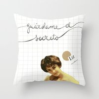 jenny liz rome Throw Pillows featuring liz by Willy Ollero