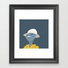 Lady with a white hat Framed Art Print