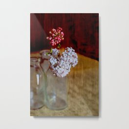 Vintage bottles with Viburnum flowers Metal Print
