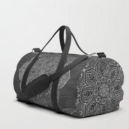 Wood Mandala - Silver Duffle Bag