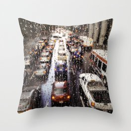 Rainy Rush Hour Throw Pillow