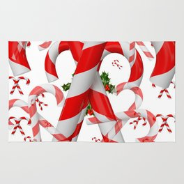 FESTIVE ART RED-WHITE CHRISTMAS CANDY CANES HOLLY BERRIES Rug