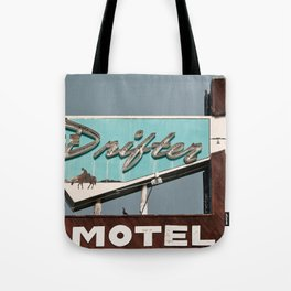 Vintage Neon Sign - The Drifter - Silver City Tote Bag