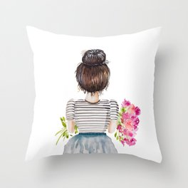 Brunette Girl with Flowers Throw Pillow