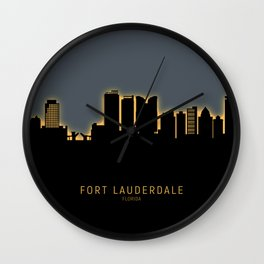 Fort Lauderdale Florida Skyline Wall Clock