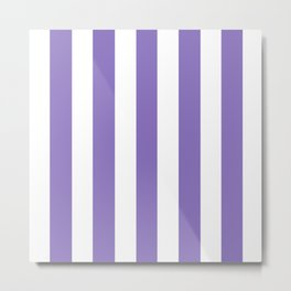 Middle blue purple - solid color - white vertical lines pattern Metal Print
