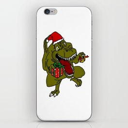 Christmas Crazy Dinosaur iPhone Skin