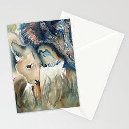 Watercolor Lion and Lioness Stationery Cards
