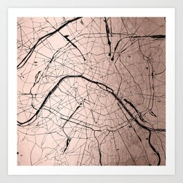Paris France Minimal Street Map - Rose Gold Glitter on Black Art Print