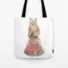 The Bear and the Poppies Tote Bag