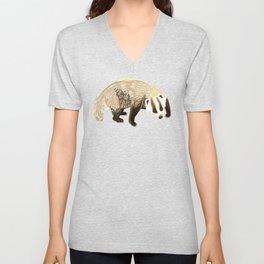 Eurasian badgers pattern teal Unisex V-Neck