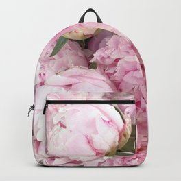 Pink Shabby Chic Peonies - Garden Peony Flowers Wall Prints Home Decor Backpack