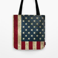 american flag Tote Bags featuring American Flag  by  Can Encin