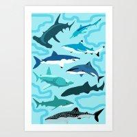 sharks Art Prints featuring Sharks by Raffles Bizarre