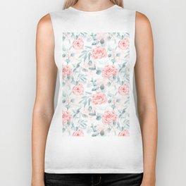 Rose Blush Watercolor Flower And Eucalyptus Biker Tank