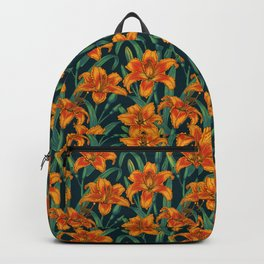 Orange lily flowers Backpack