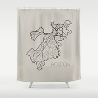 boston Shower Curtains featuring Boston by linnydrez