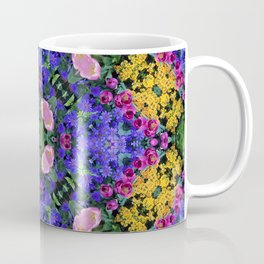 Floral Spectacular: Blue, Plum and Gold - repeating pattern, diamond, Olbrich Botanical Gardens, Mad Coffee Mug