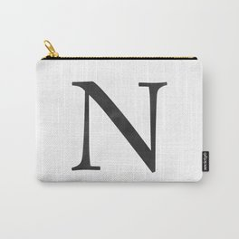 Letter N Initial Monogram Black and White Carry-All Pouch