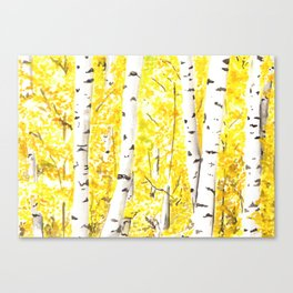 Yellow Aspen Trees Watercolor art Painting Yellow Birches wall hanging wall Art Canvas Print