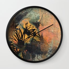 Grow Through It: sunflowers in the rain - abstract mixed media piece Wall Clock
