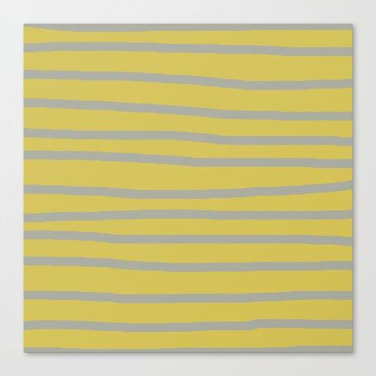 Simply Drawn Stripes Retro Gray on Mod Yellow Canvas Print
