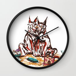 Dogs On Hol Wall Clock