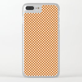 Autumn Maple and White Polka Dots Clear iPhone Case