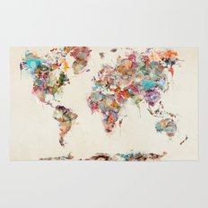 world map watercolor deux Rug