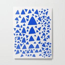 Blue Triangles Abstract Minimal Art Metal Print