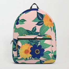 Pretty Blue Yellow floral and foliage pink Design Backpack