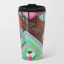 cute lovers sitting in a cafe Travel Mug