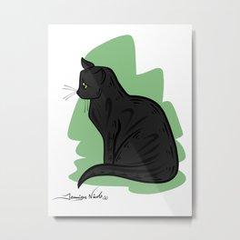 Black Cat Green Background Metal Print