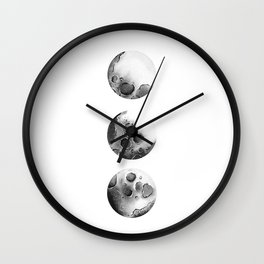 Moon Phases, Black and White Moon, Space, watercolor, Moon Print, Moon Painting Wall Clock
