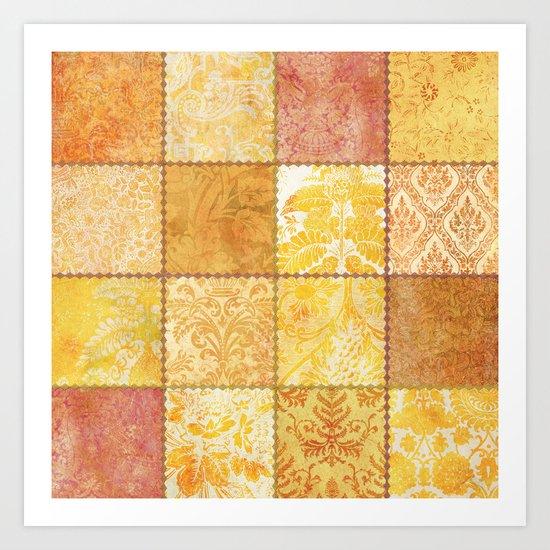 Orange Patchwork Art Print