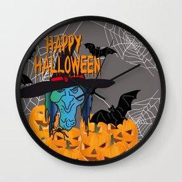 Bats & Witch Happy Halloween Wall Clock