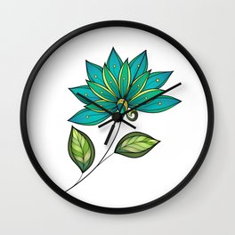 Blue Floral Pattern Wall Clock