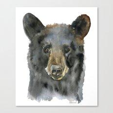 Black Bear Watercolor Canvas Print