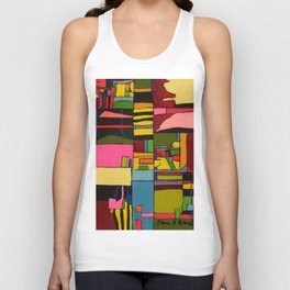 Colors in Collision 2 - Geometric Abstract in Blue Yellow Pink and Green Unisex Tank Top