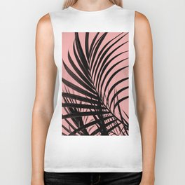 Simple palm leaves paradise with peach Biker Tank