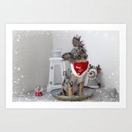Cute Santa Chihuahua Puppy Art Print